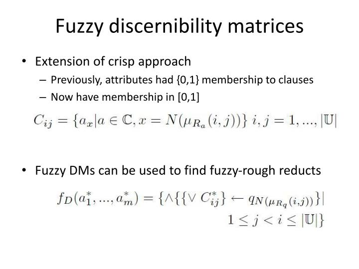 Fuzzy discernibility matrices