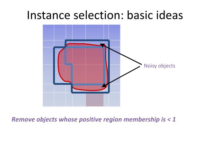 Instance selection: basic ideas