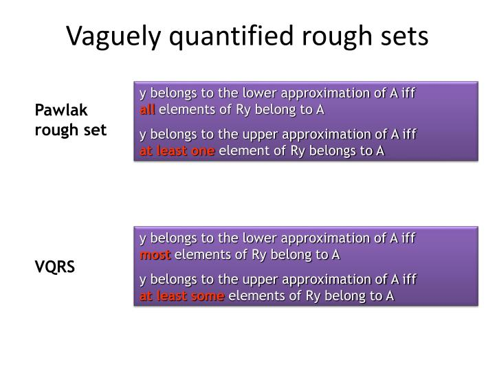 Vaguely quantified rough sets