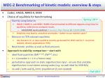 mdc 2 benchmarking of kinetic models overview steps