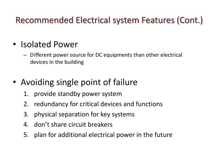 Recommended Electrical system Features (Cont.)
