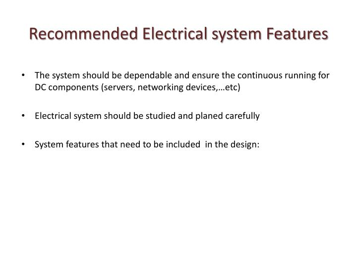 Recommended Electrical system Features