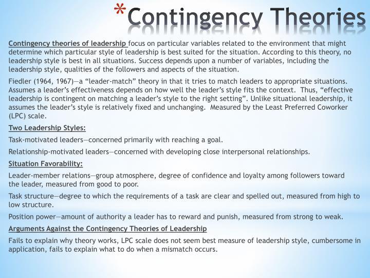 Contingency theories of leadership