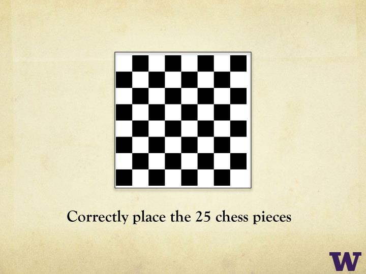 Correctly place the 25 chess
