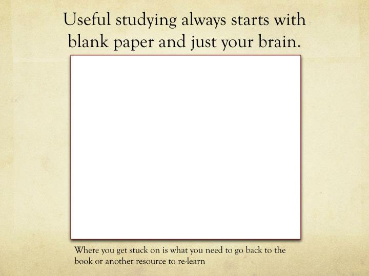 Useful studying always starts with blank paper and just your brain.