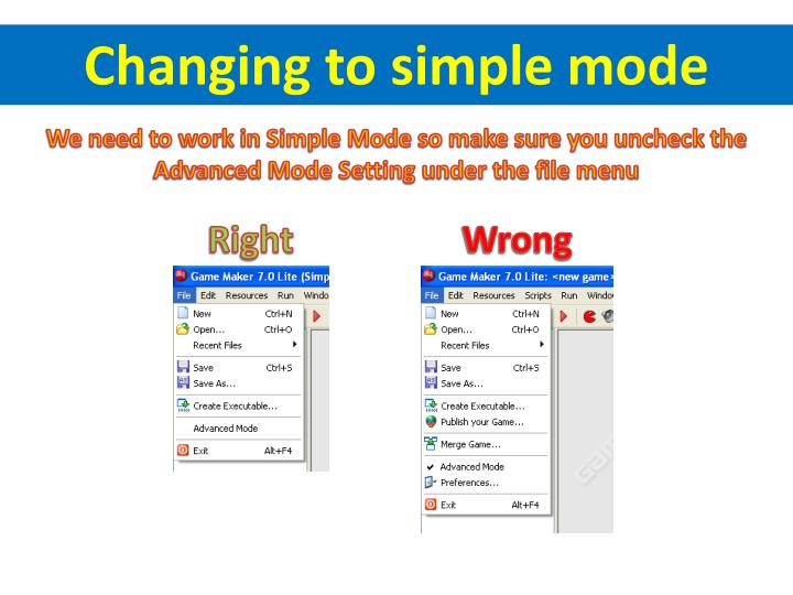 Changing to simple mode