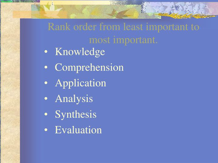 Rank order from least important to most important.