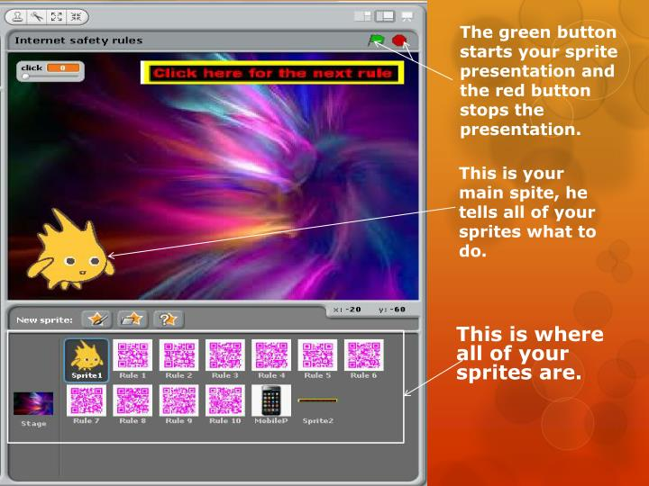 The green button starts your sprite presentation and the red button stops the presentation.