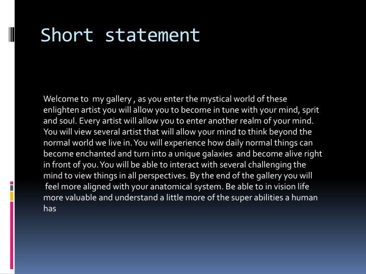 Short statement