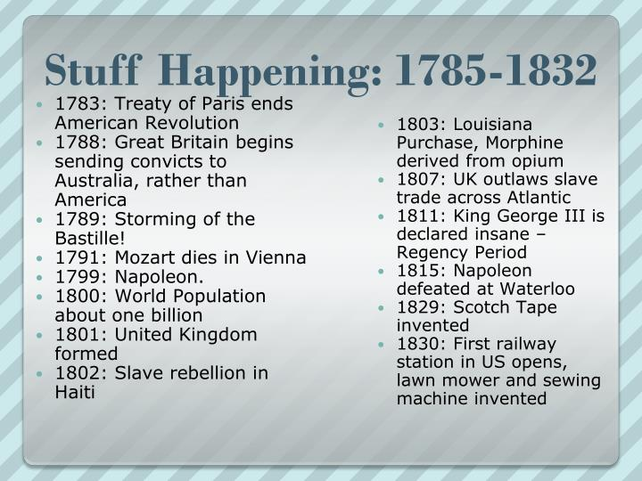 Stuff Happening: 1785-1832