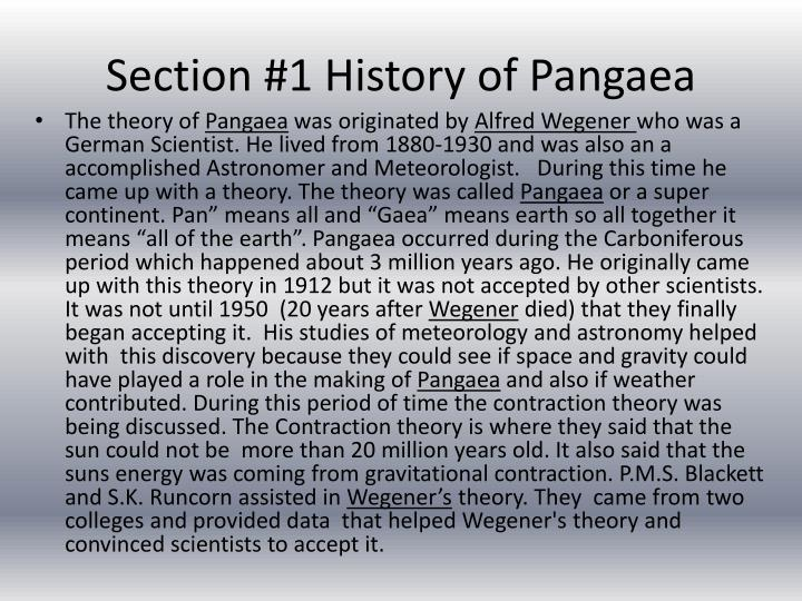 Section 1 history of pangaea