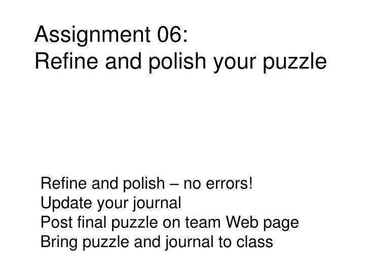 Assignment 06: