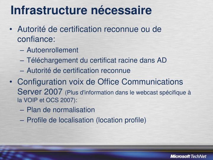 Infrastructure nécessaire