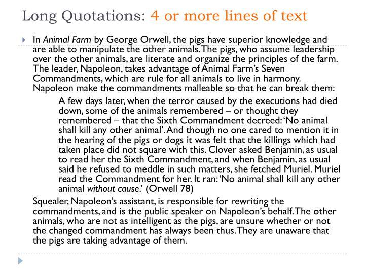 Long Quotations:
