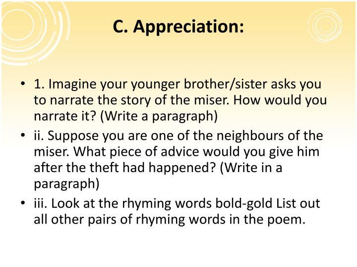 C. Appreciation