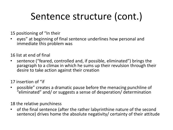 Sentence structure (cont.)