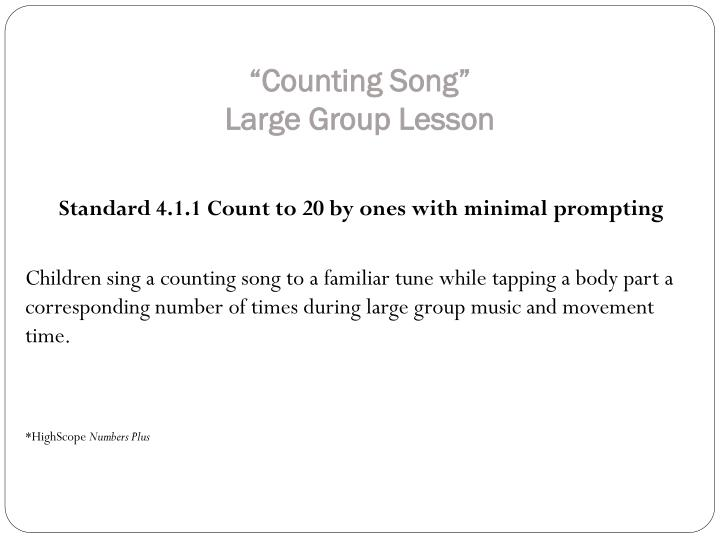 """Counting Song"""