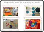 materials for making and writing numerals