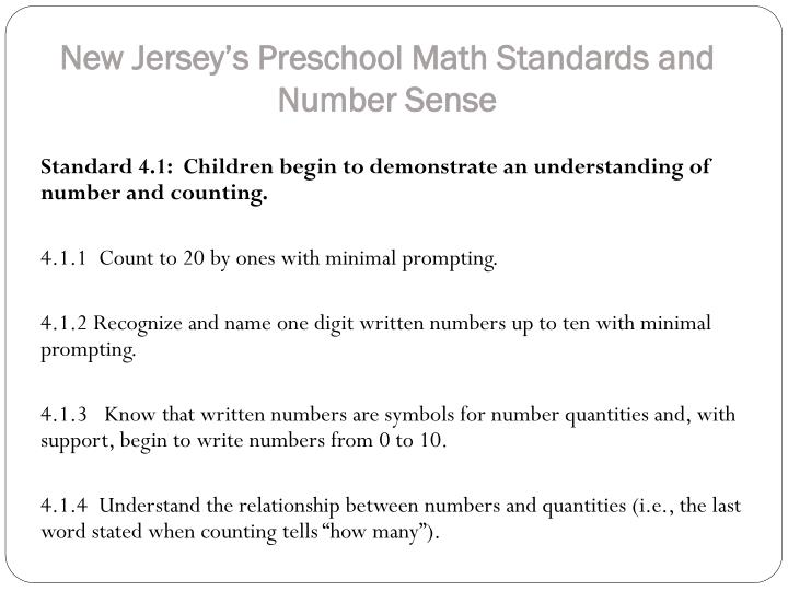 New Jersey's Preschool Math Standards
