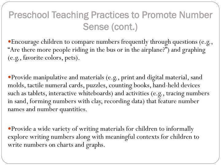 Preschool Teaching Practices to Promote Number Sense (cont.)