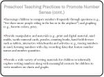 preschool teaching practices to promote number sense cont