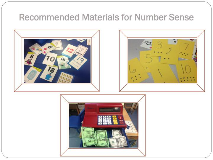 Recommended Materials for Number Sense