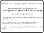 standard 4 1 2 recognizing and naming numbers