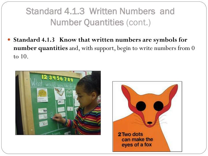 Standard 4.1.3  Written Numbers  and