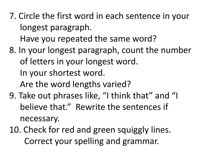 7. Circle the first word in each sentence in your