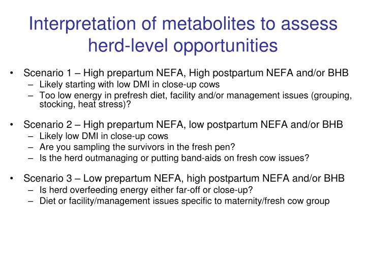 Interpretation of metabolites to assess herd-level opportunities