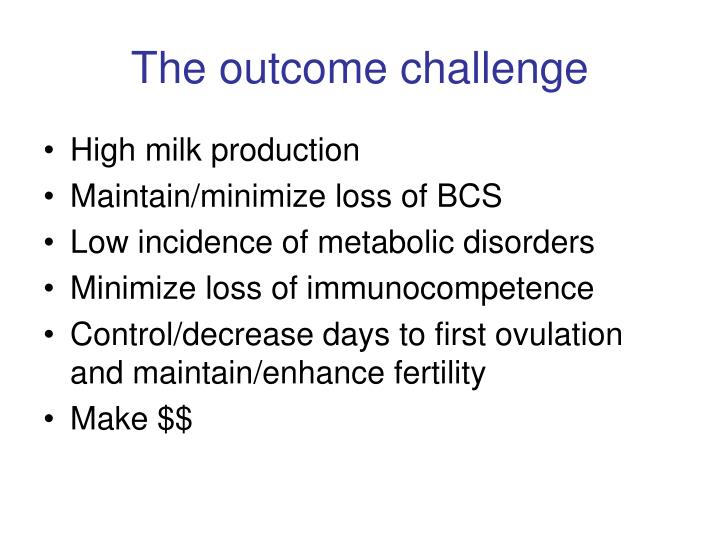The outcome challenge