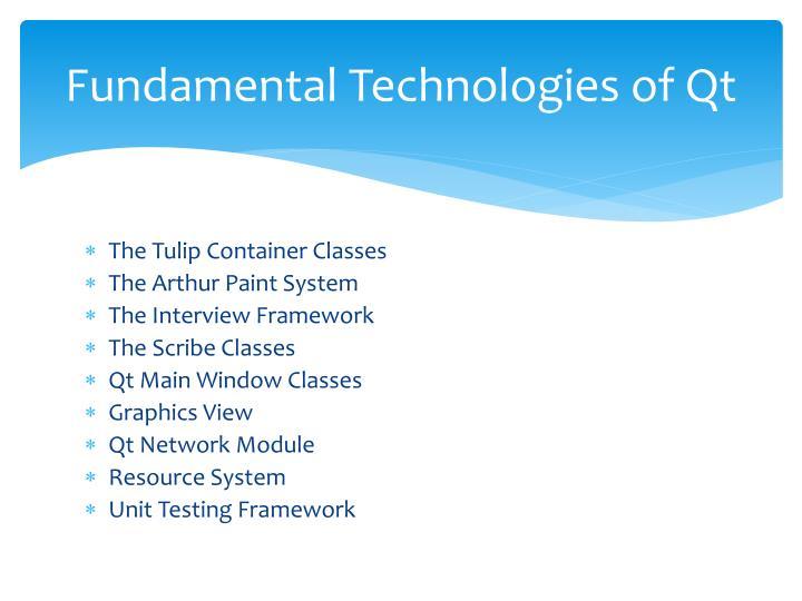 Fundamental Technologies of