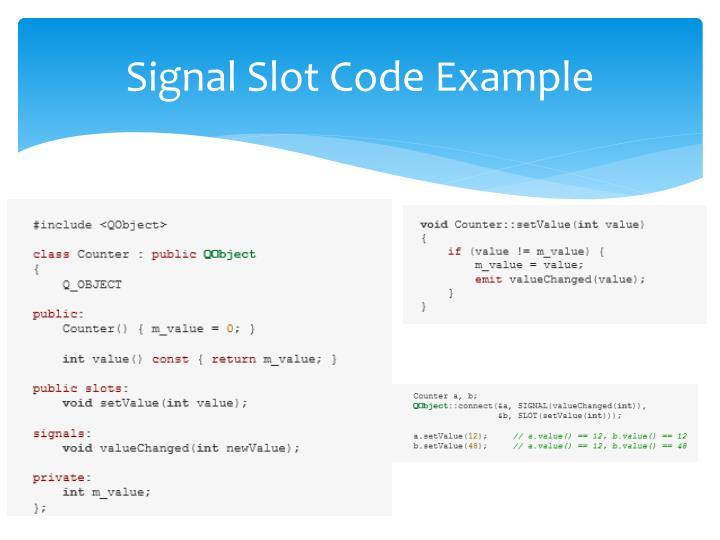 Signal Slot Code Example