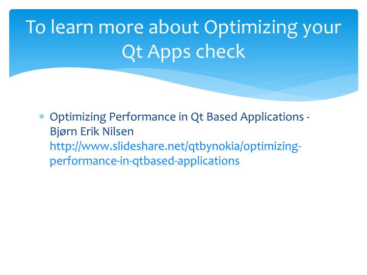 To learn more about Optimizing your