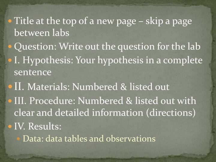 Title at the top of a new page – skip a page between labs
