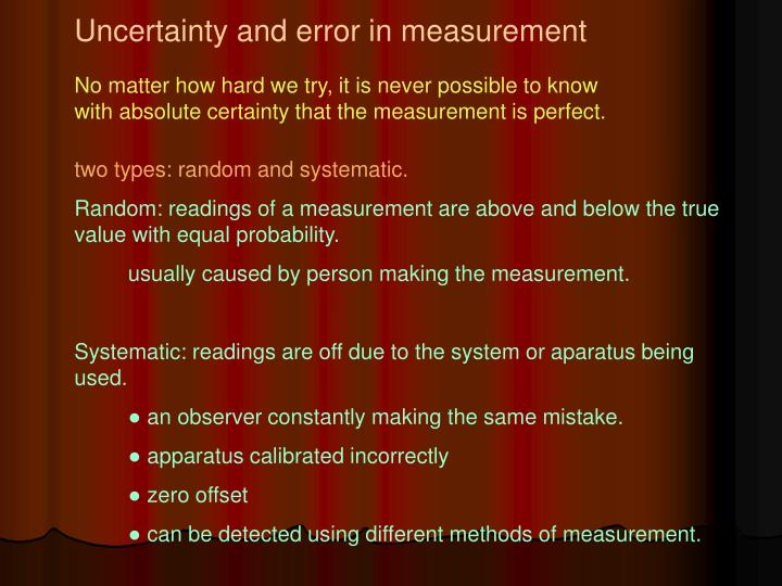 Uncertainty and error in measurement
