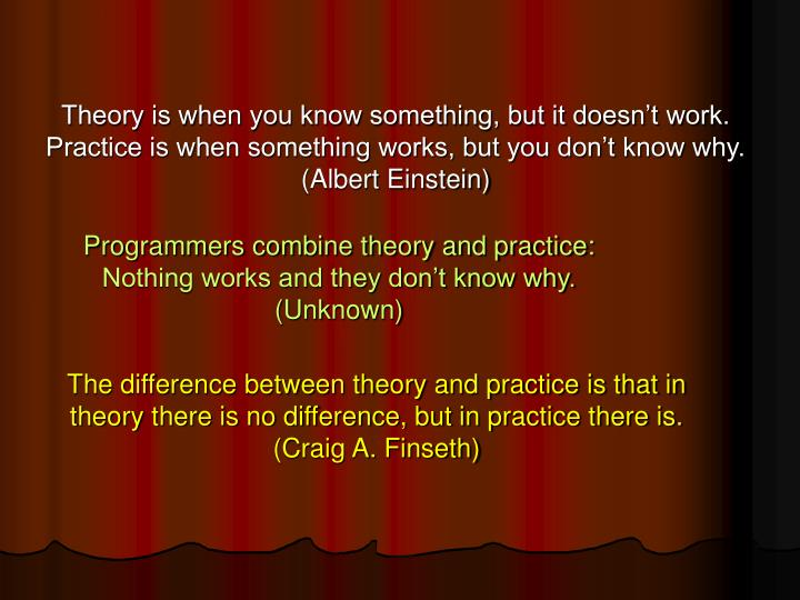 Theory is when you know something, but it doesn't work.