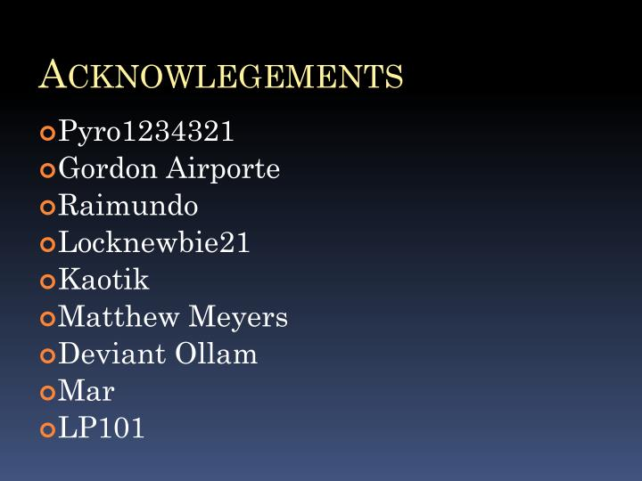Acknowlegements