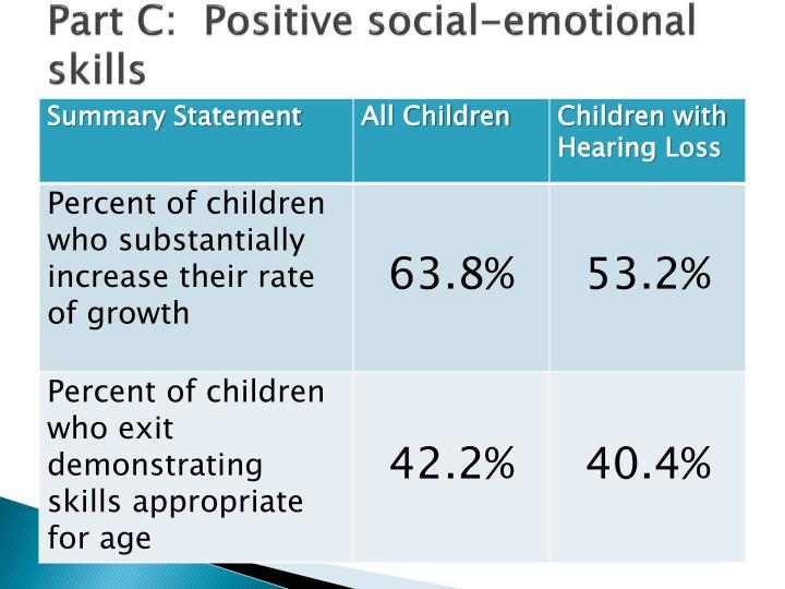 Part C:  Positive social-emotional skills