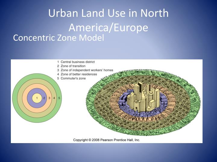 Urban land use in north america europe