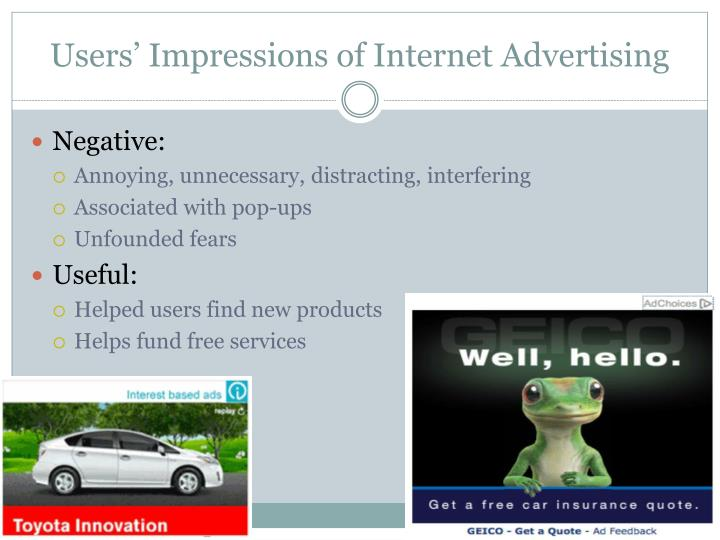 Users' Impressions of Internet Advertising