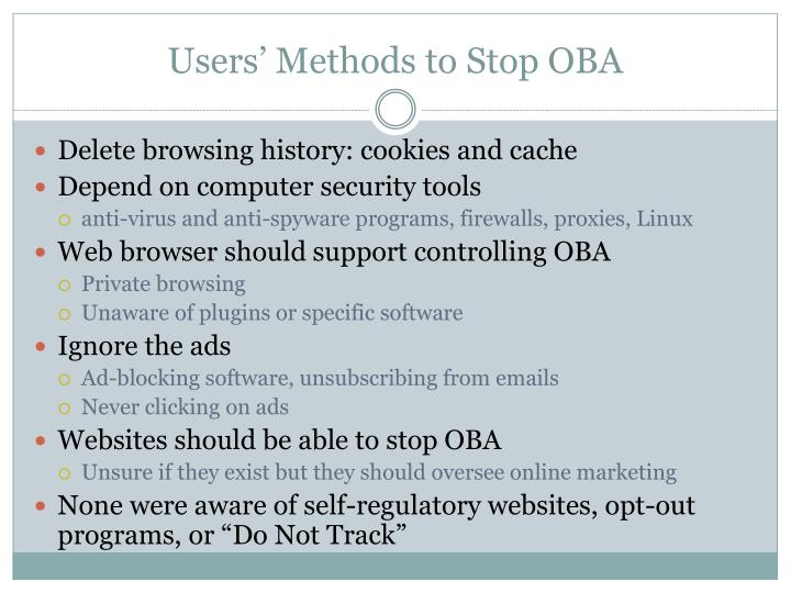 Users' Methods to Stop OBA