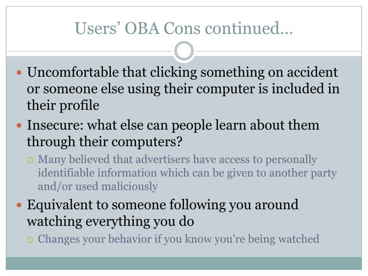 Users' OBA Cons continued…