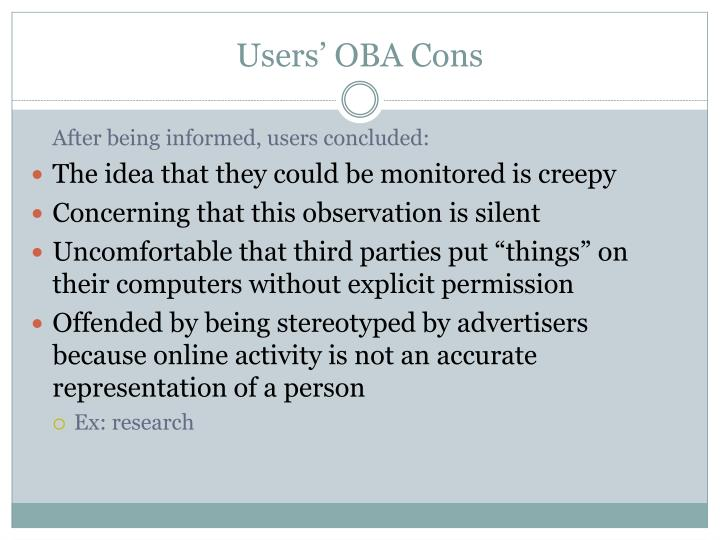 Users' OBA Cons
