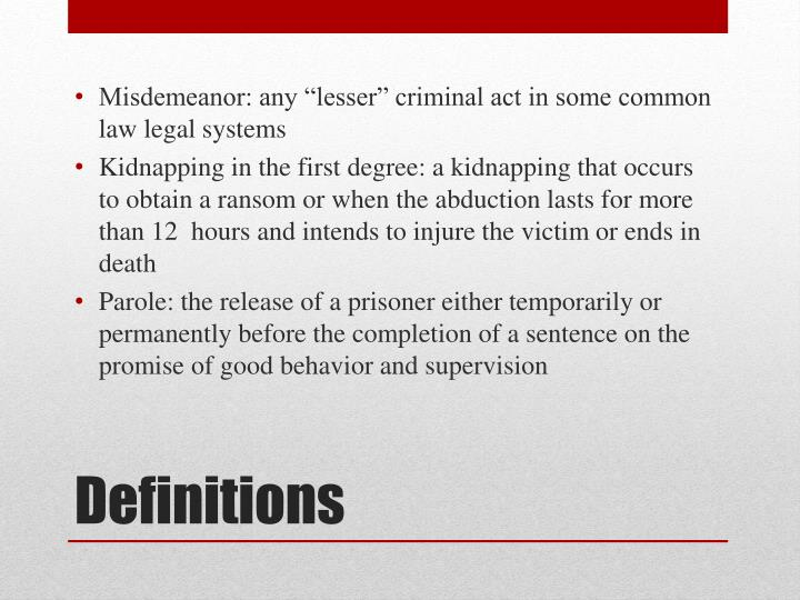 "Misdemeanor: any ""lesser"" criminal act in some common law legal systems"