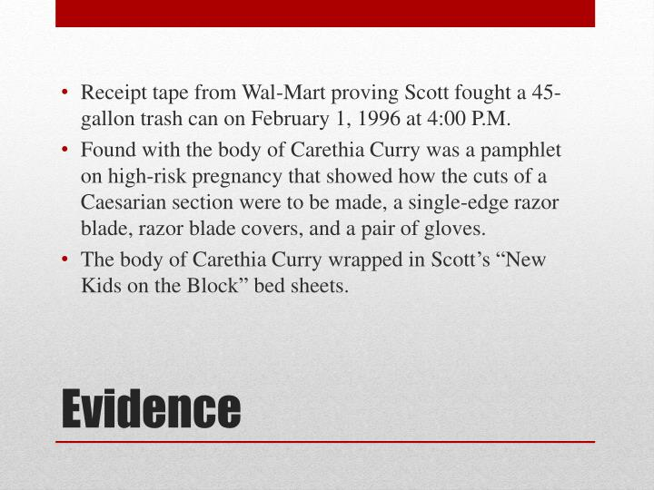 Receipt tape from Wal-Mart proving Scott fought a 45-gallon trash can on February 1, 1996 at 4:00 P.M.