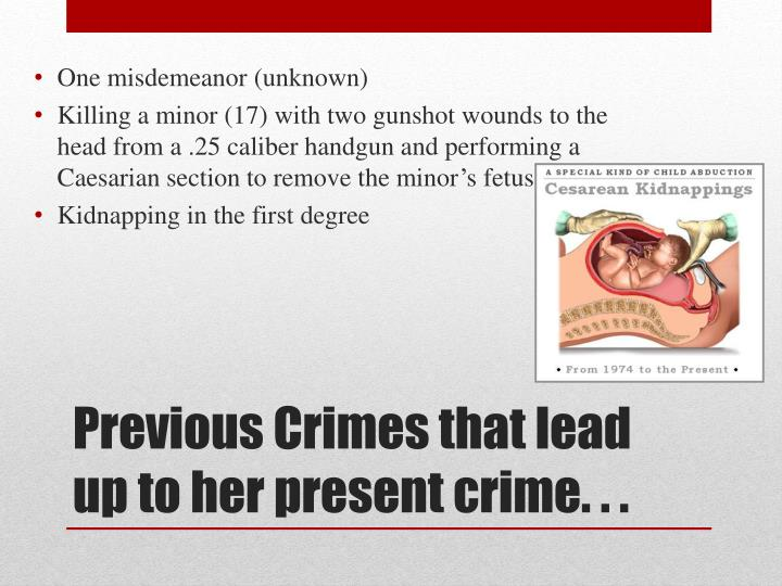 Previous crimes that lead up to her present crime
