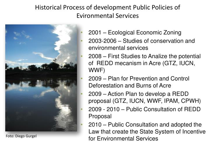 Historical process of development public policies of evironmental services