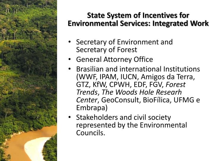 State System of Incentives for Environmental Services: Integrated Work