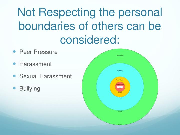 Not Respecting the personal boundaries of others can be considered: